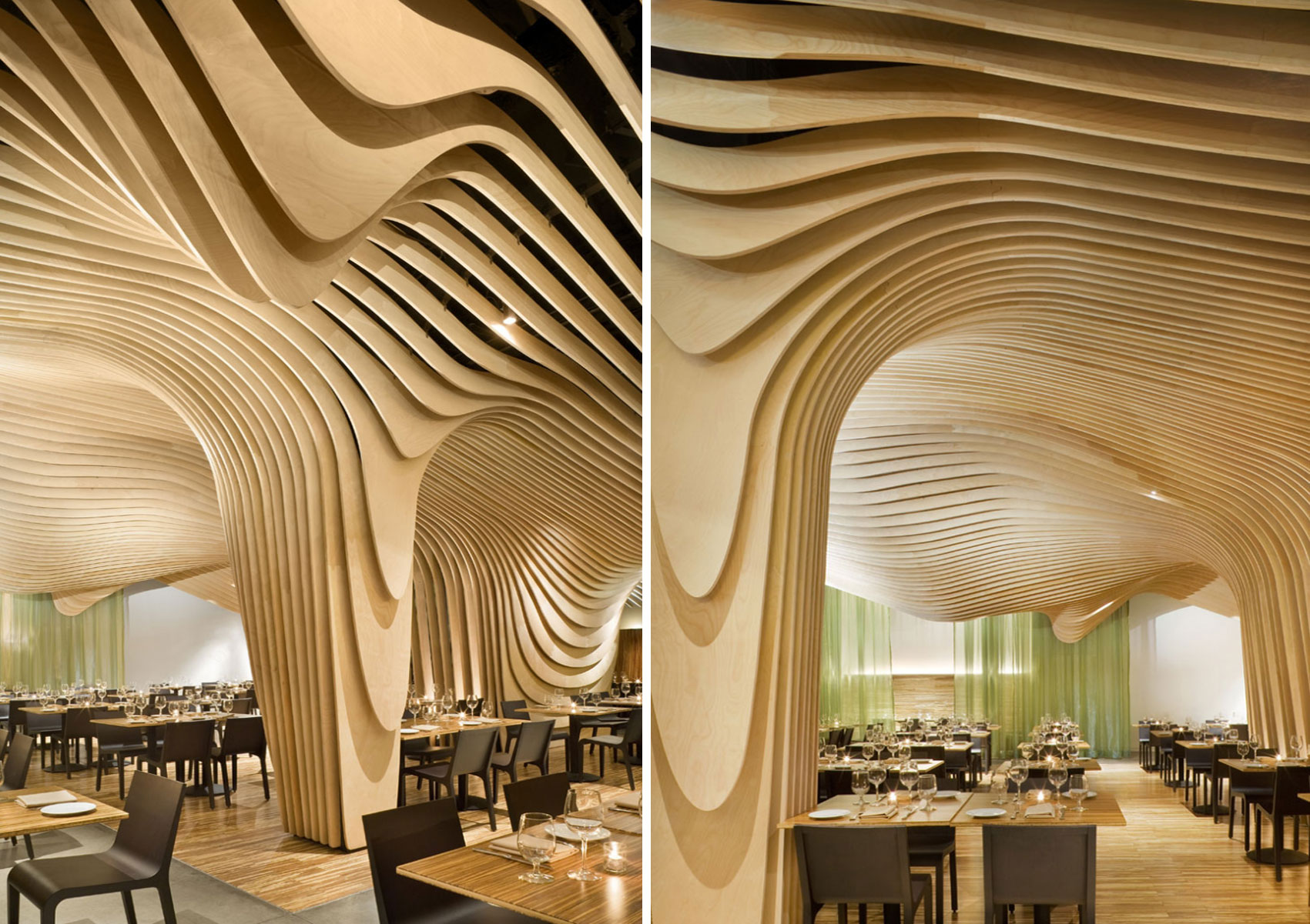 طراحی درخت ساده دکوراسیون داخلی رستوران بنکیو